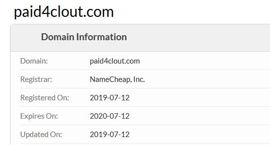 Information saying that Paid4Clout was created on the 12th of July