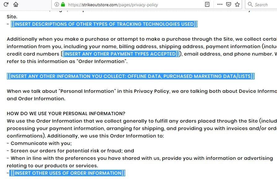 Privacy Policy Errors