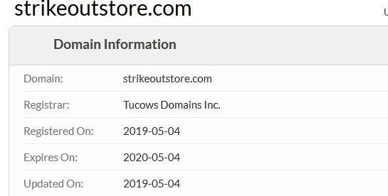 Whois Information For StrikeoutStore.com