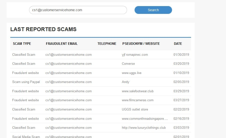 Fraudulent Email Address