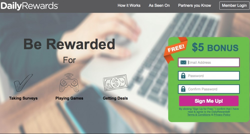 Surveys Daily Rewards homepage