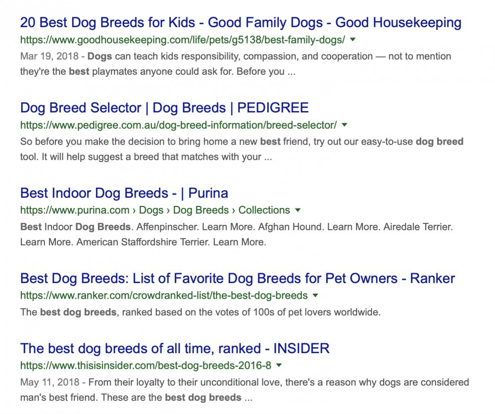 'Best dog breeds' google results