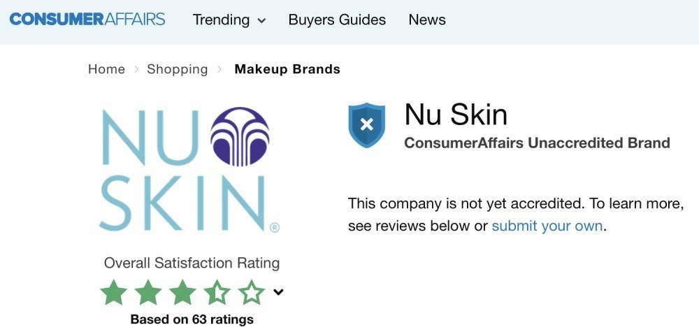 Nu Skin Review - consumer affairs customer ratings