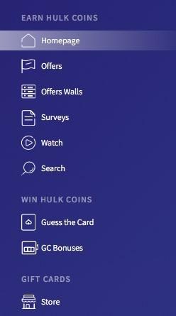 GiftHulk menu