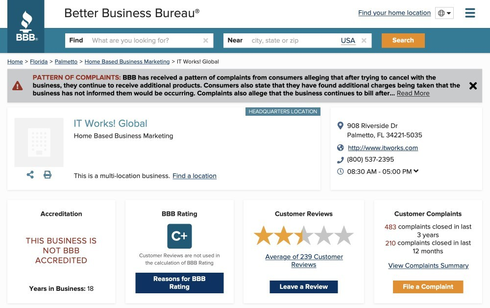 It Works! Review - BBB ratings