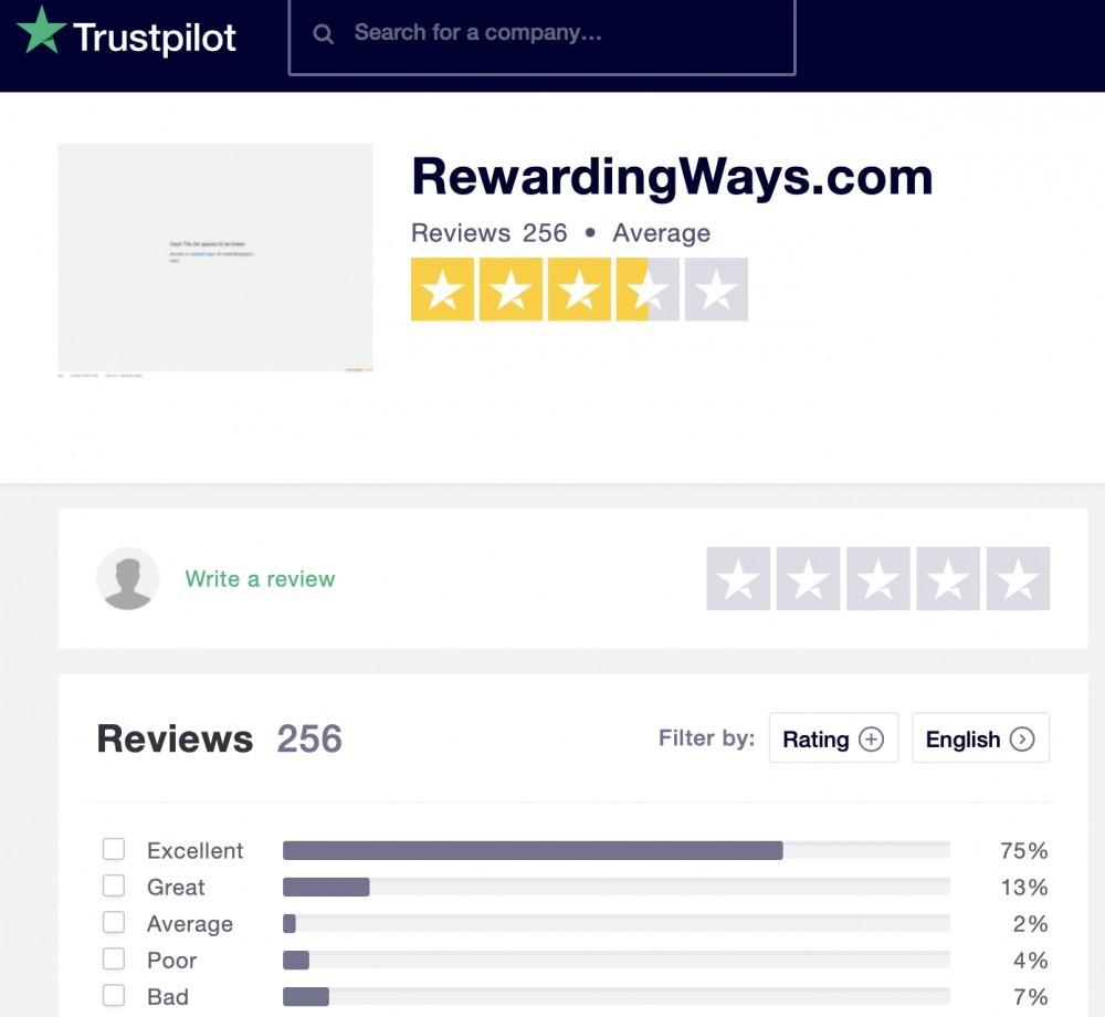 Rewarding Ways Review - Trustpilot Ratings