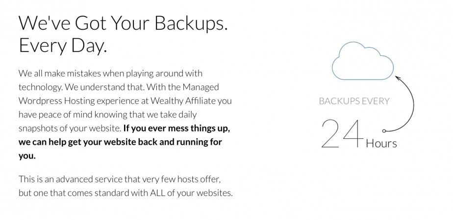 Wealthy Affiliate hosting - daily backups