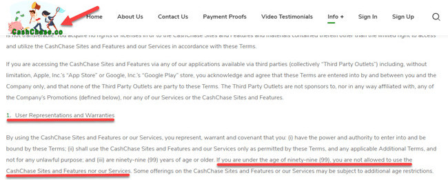 If You Are Under 99 You Are Not Allowed To Use CashChase