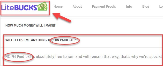 LiteBucks FAQs  Will It Cost Me Anything To Join Paidleaf