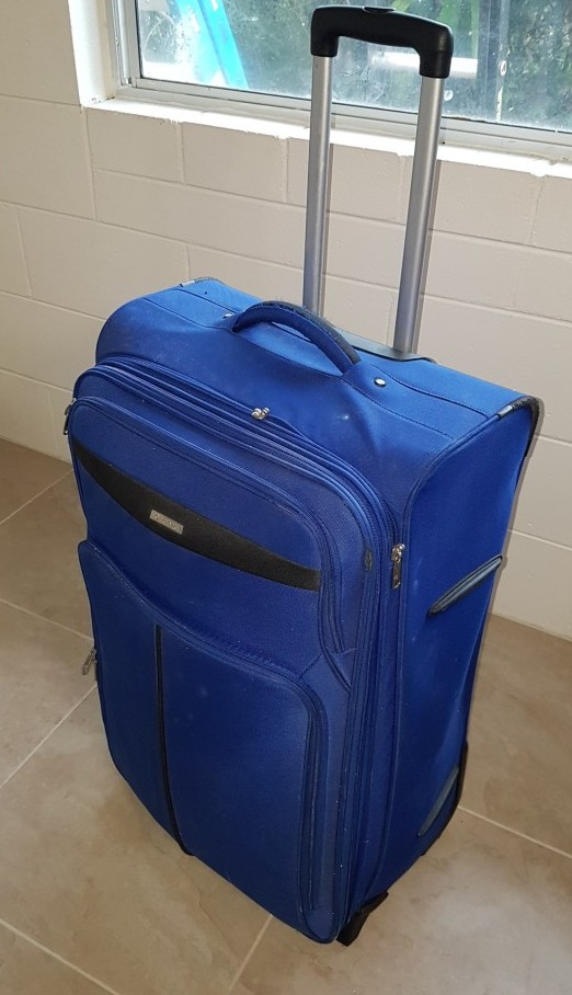 A blue luggage suitcase