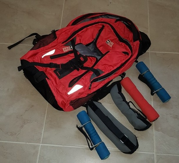 backpack and handweights
