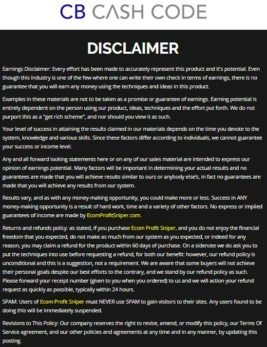CB Cash Code Disclaimer that references eCom Profit Sniper