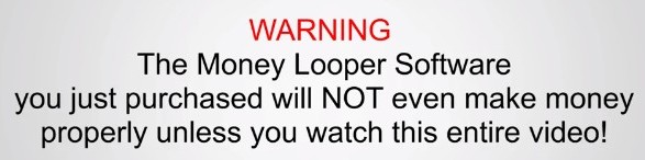 Warning message from upsell video