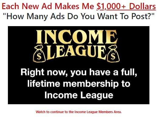 Screenshot showing full, lifetime membership to Income League