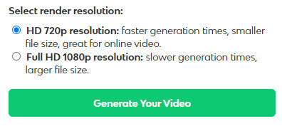 Select 720p or 1080p resolution