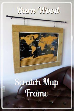 barn wood scratch map frame