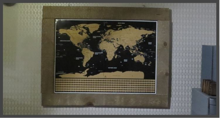 barn board scratch map frame