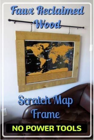 FAUX BARN BOARD SCRATCH MAP FRAME