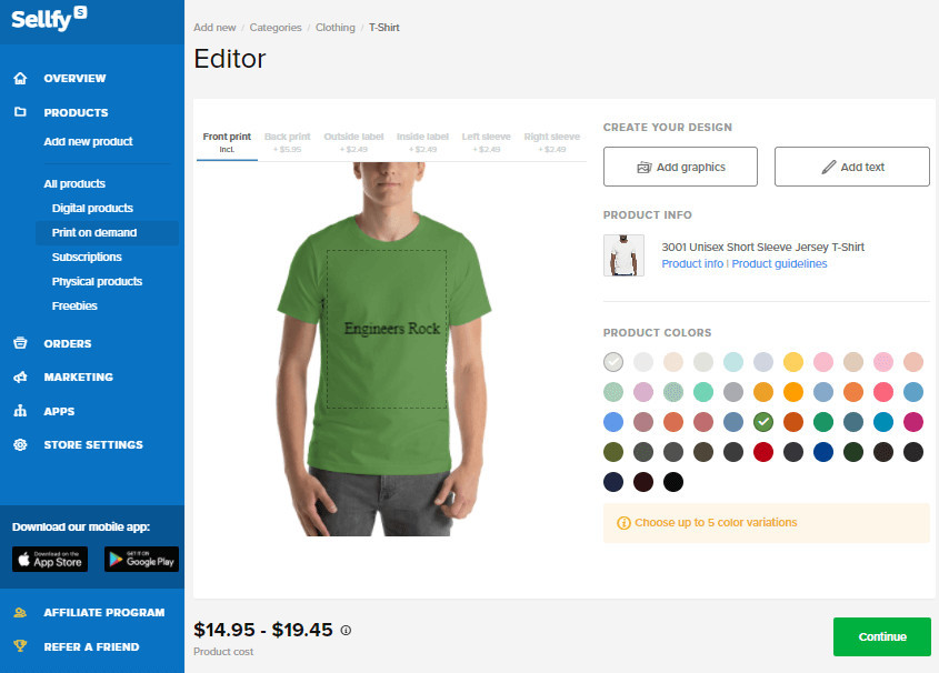 Create Merch Products with Sellfy