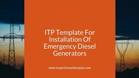 Inspection And Test Plan Template For Emergency Diesel Generators