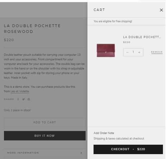 Shopify Prestige Slideout Cart