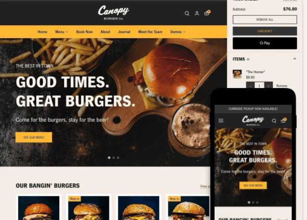 Canopy Food Delivery Service Shopify Theme