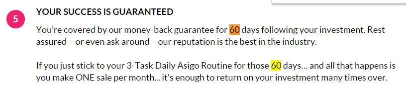 The Asigo System Guarantee