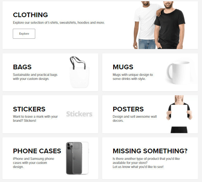 Sellfy Merch Products