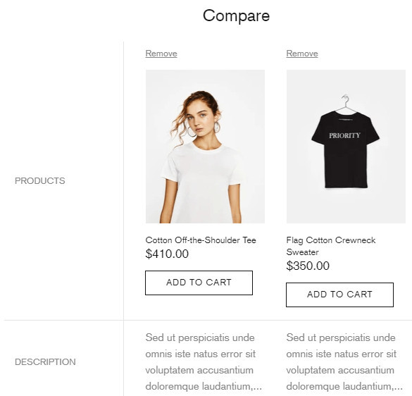 Compare Products with Shella Theme