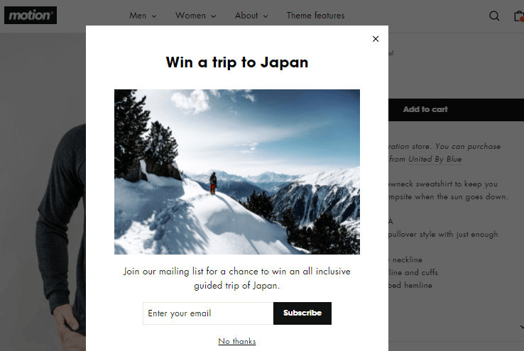 Motion Shopify Theme Email Popup