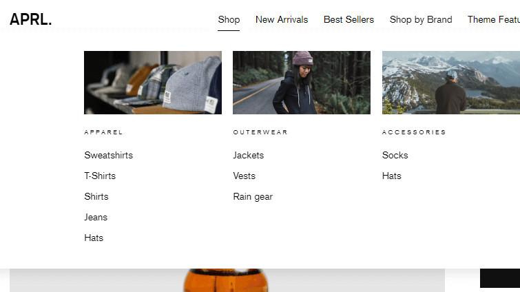 Shopify Impulse Theme Mega Menu