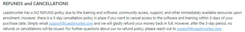 LeadsHunter Refund Policy