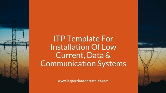 Inspection And Test Plan Template For Low Current, Data & Communication Systems