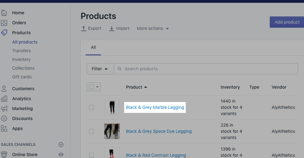 Shopify Admin Dashboard