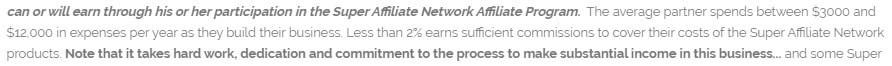 Super Affiliate Network Income Disclaimer