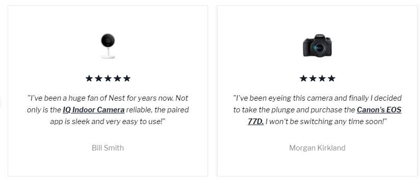 Customer Testimonials Feature on Empire