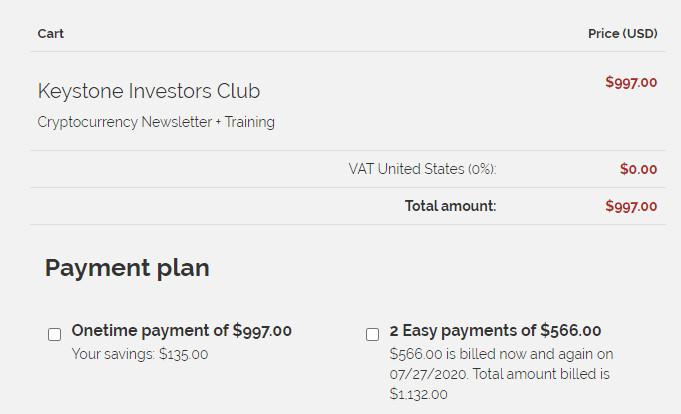 Keystone Investors Club Cost
