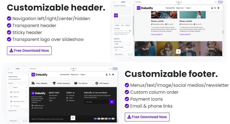 Debutify Customization