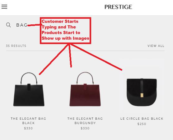Live Search on Prestige Theme