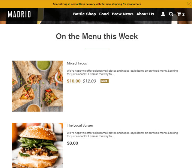Parallax Food Delivery Shopify Theme