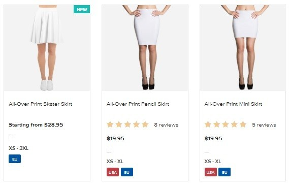 Printful Print On Demand Skirts Pricing