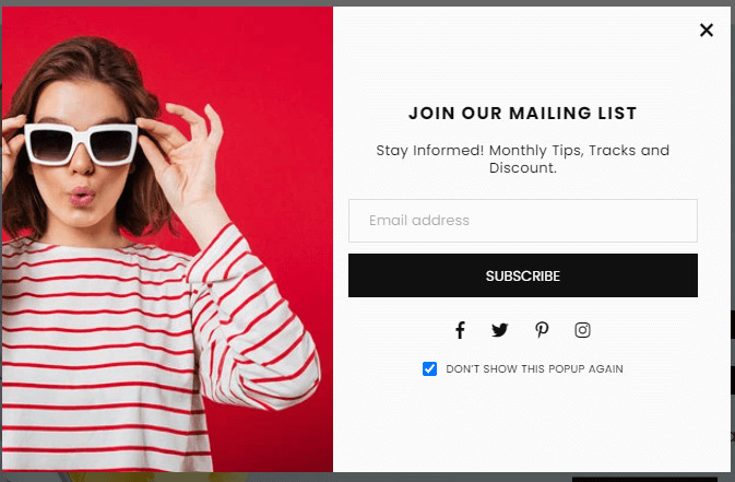 Avone Theme Email Pop-up