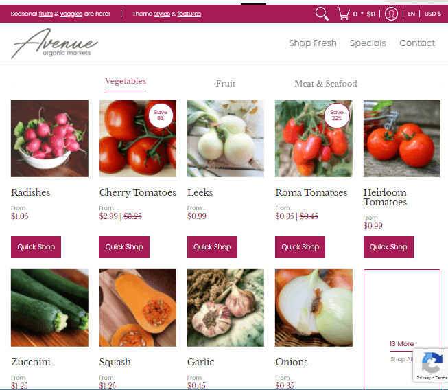 Avenue Shopify Grocery Store Theme