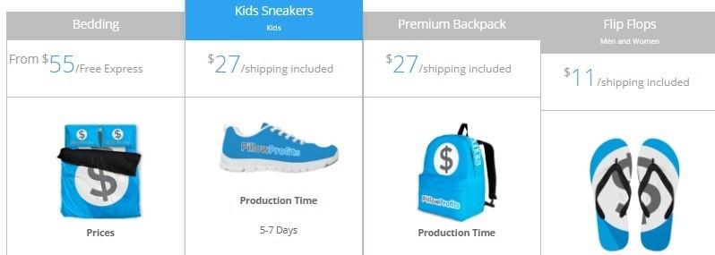 Print On Demand Bedding, Sneakers, Backpak, Flip-Flops