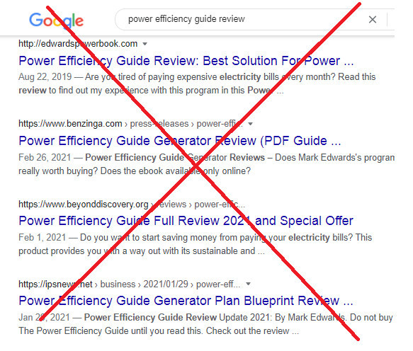 Power Efficiency Guide Fake Reviews