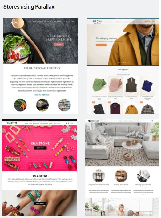 Parallax Theme Example Stores