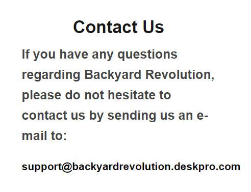 Backyard Revolution Support