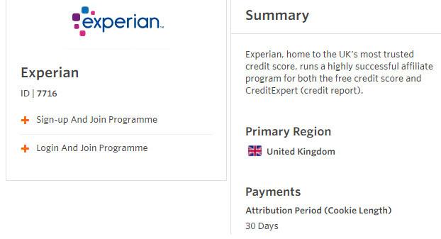 Experian.co.uk Affiliate Program