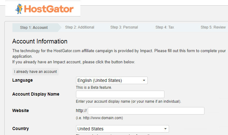 HostGator Affiliate Signup