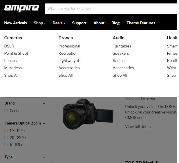 Empire Shopify Theme for Large Catalog